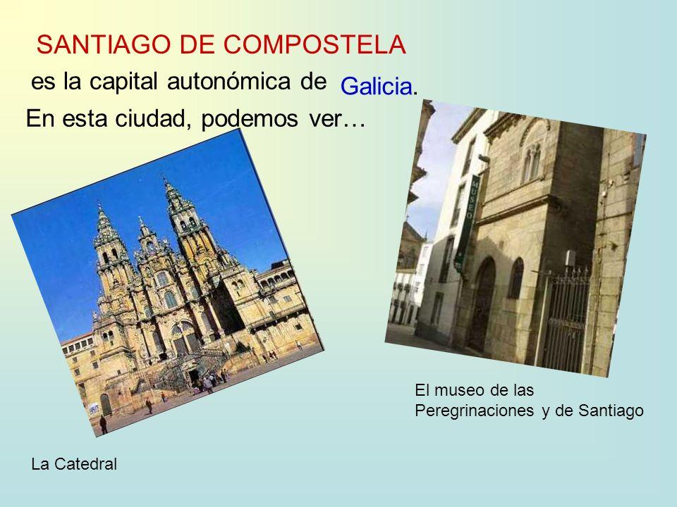 SANTIAGO DE COMPOSTELA es la capital autonómica de Galicia. En esta ciudad, podemos ver… La Catedral El museo de las Peregrinaciones y de Santiago