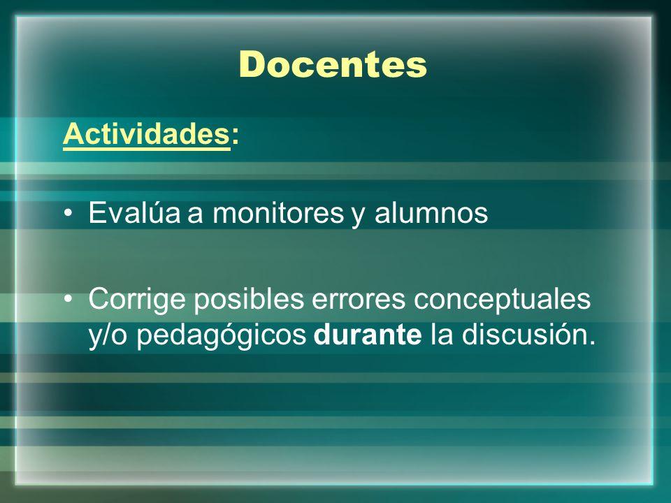 Docentes Actividades: Evalúa a monitores y alumnos Corrige posibles errores conceptuales y/o pedagógicos durante la discusión.
