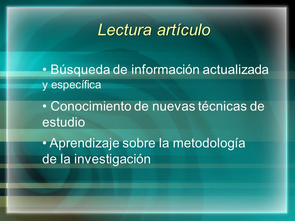 Lectura artículo Búsqueda de información actualizada y específica Conocimiento de nuevas técnicas de estudio Aprendizaje sobre la metodología de la investigación
