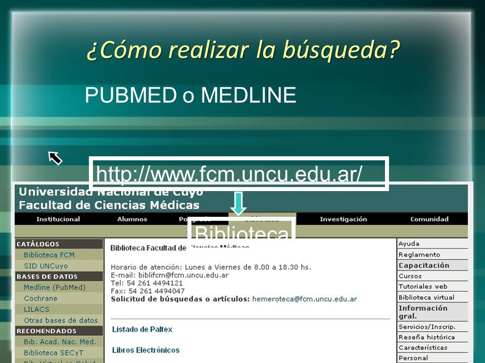 PUBMED o MEDLINE ¿Cómo realizar la búsqueda? http://www.fcm.uncu.edu.ar/ Biblioteca