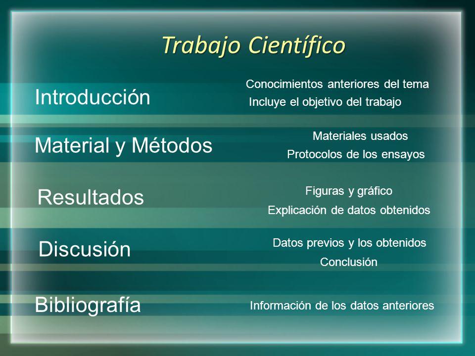 Introducción Material y Métodos Resultados Discusión Bibliografía Trabajo Científico Conocimientos anteriores del tema Incluye el objetivo del trabajo