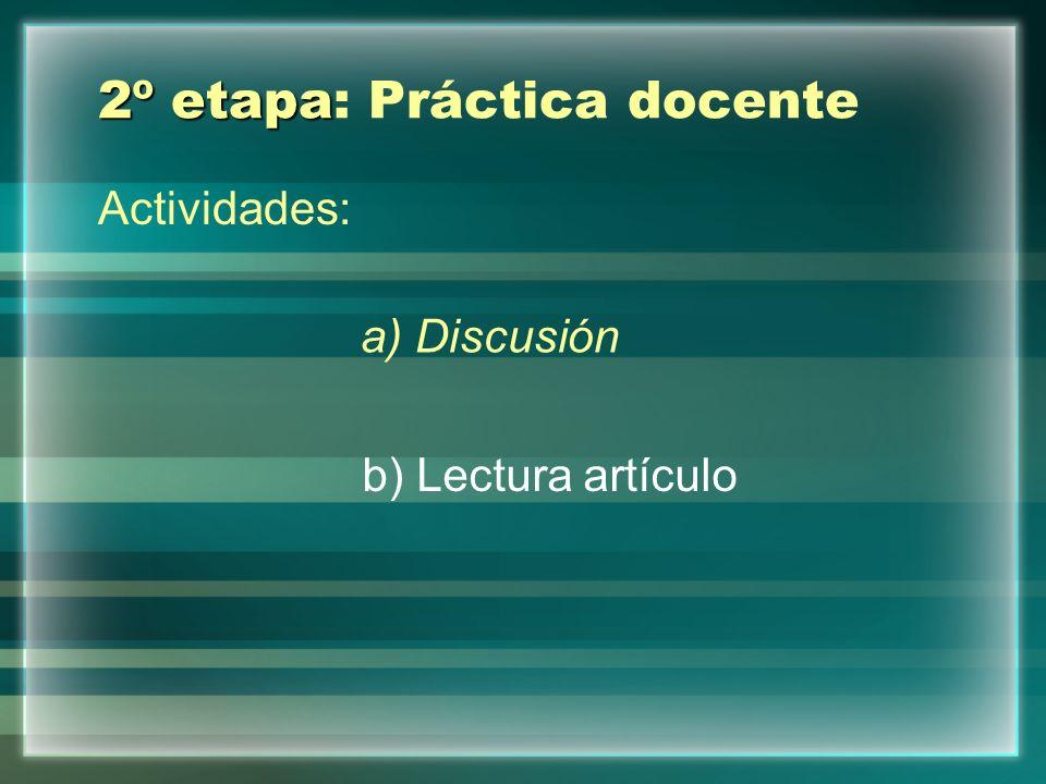 2º etapa 2º etapa: Práctica docente Actividades: a) Discusión b) Lectura artículo