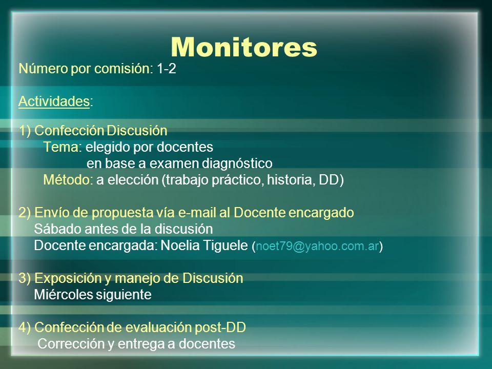 Monitores Número por comisión: 1-2 Actividades: 1) Confección Discusión Tema: elegido por docentes en base a examen diagnóstico Método: a elección (tr