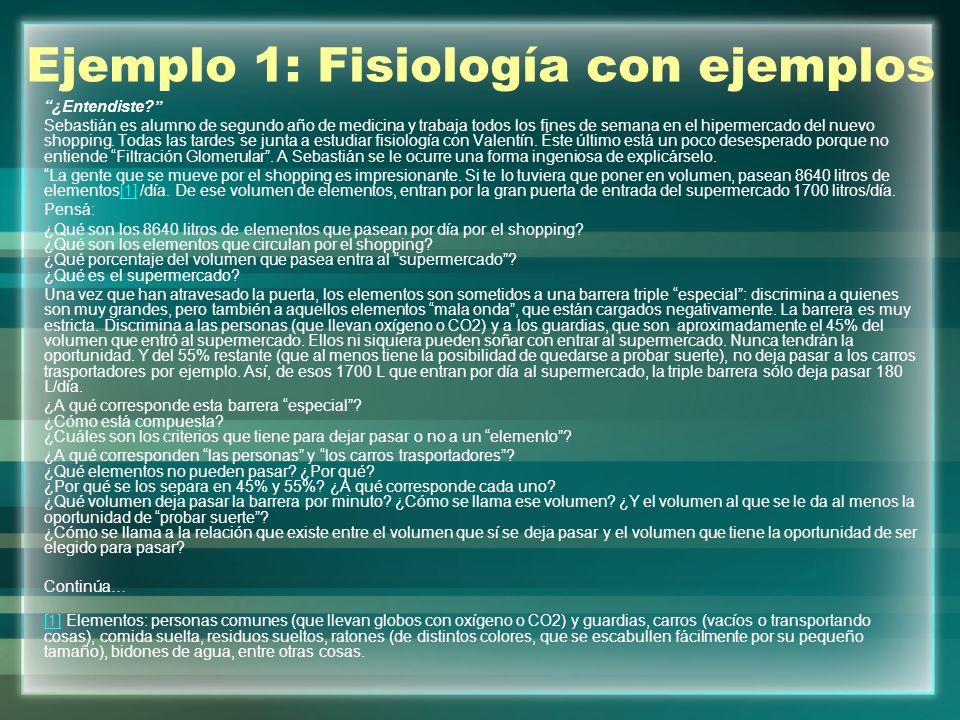 Ejemplo 1: Fisiología con ejemplos ¿Entendiste.