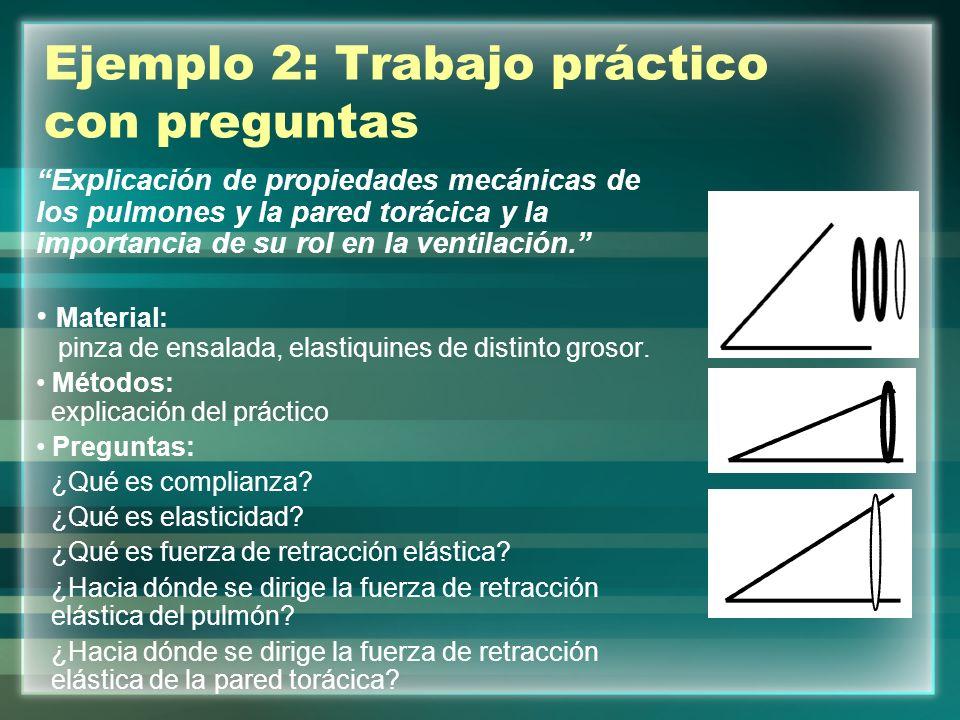 Ejemplo 2: Trabajo práctico con preguntas Explicación de propiedades mecánicas de los pulmones y la pared torácica y la importancia de su rol en la ventilación.