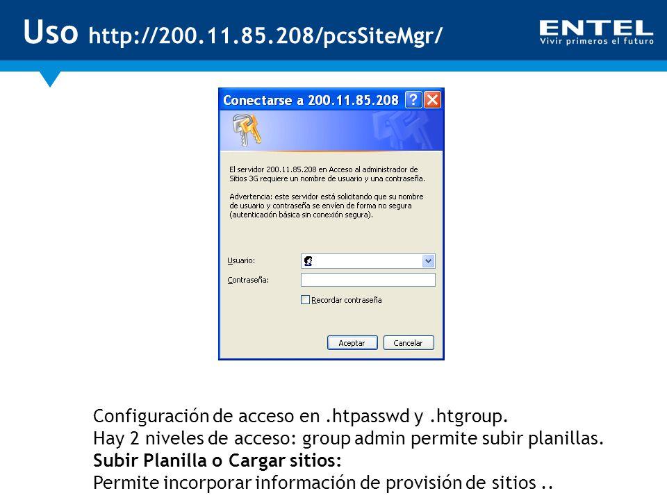 Uso http://200.11.85.208/pcsSiteMgr/ Configuración de acceso en.htpasswd y.htgroup. Hay 2 niveles de acceso: group admin permite subir planillas. Subi