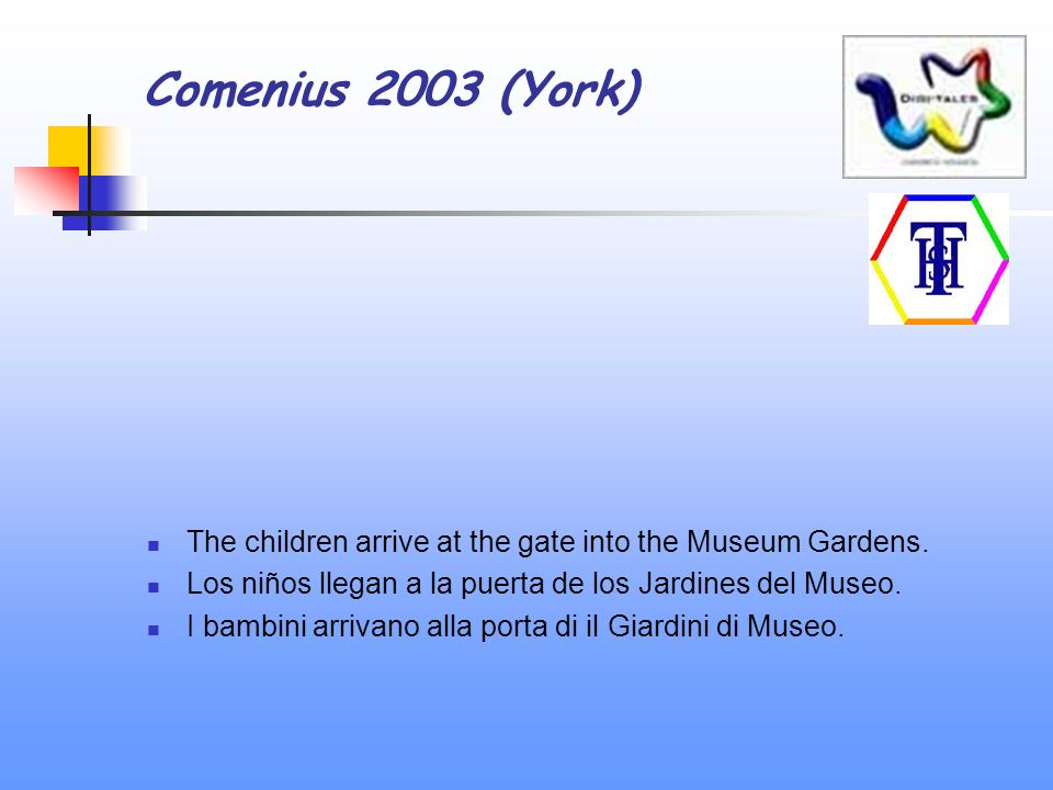 Comenius 2003 (York) The children arrive at the gate into the Museum Gardens.