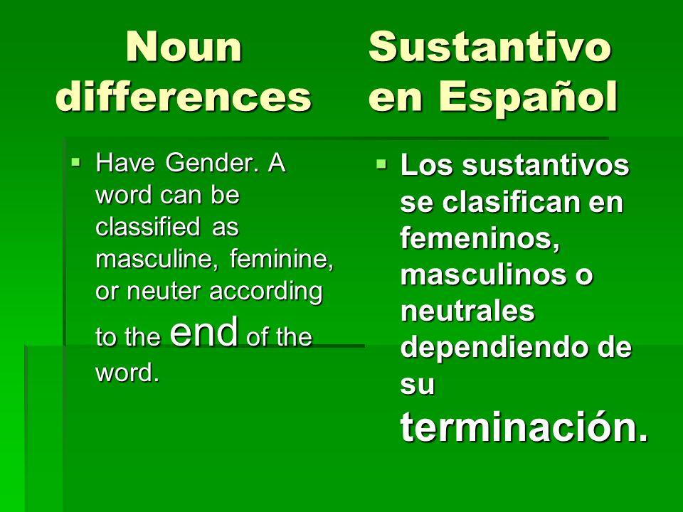 Noun Sustantivo differences en Español Noun Sustantivo differences en Español Have Gender. A word can be classified as masculine, feminine, or neuter