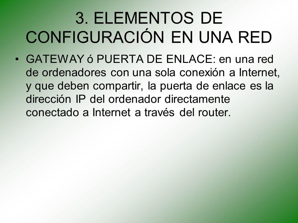 3. ELEMENTOS DE CONFIGURACIÓN EN UNA RED GATEWAY ó PUERTA DE ENLACE: en una red de ordenadores con una sola conexión a Internet, y que deben compartir