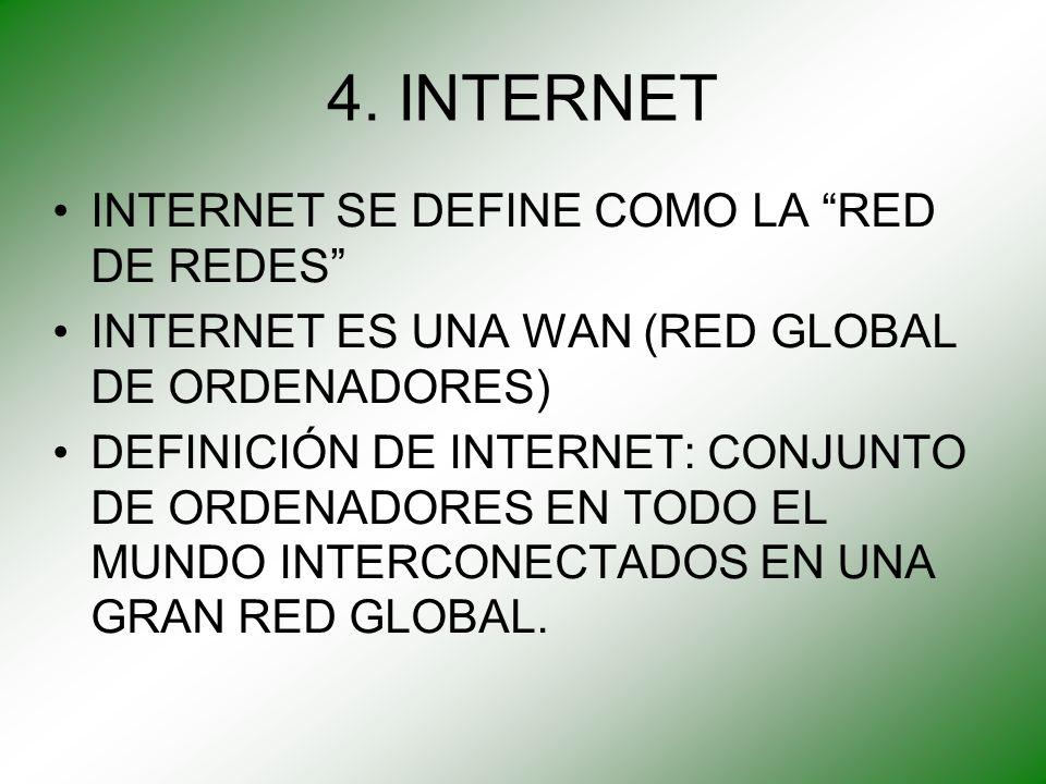 4. INTERNET INTERNET SE DEFINE COMO LA RED DE REDES INTERNET ES UNA WAN (RED GLOBAL DE ORDENADORES) DEFINICIÓN DE INTERNET: CONJUNTO DE ORDENADORES EN