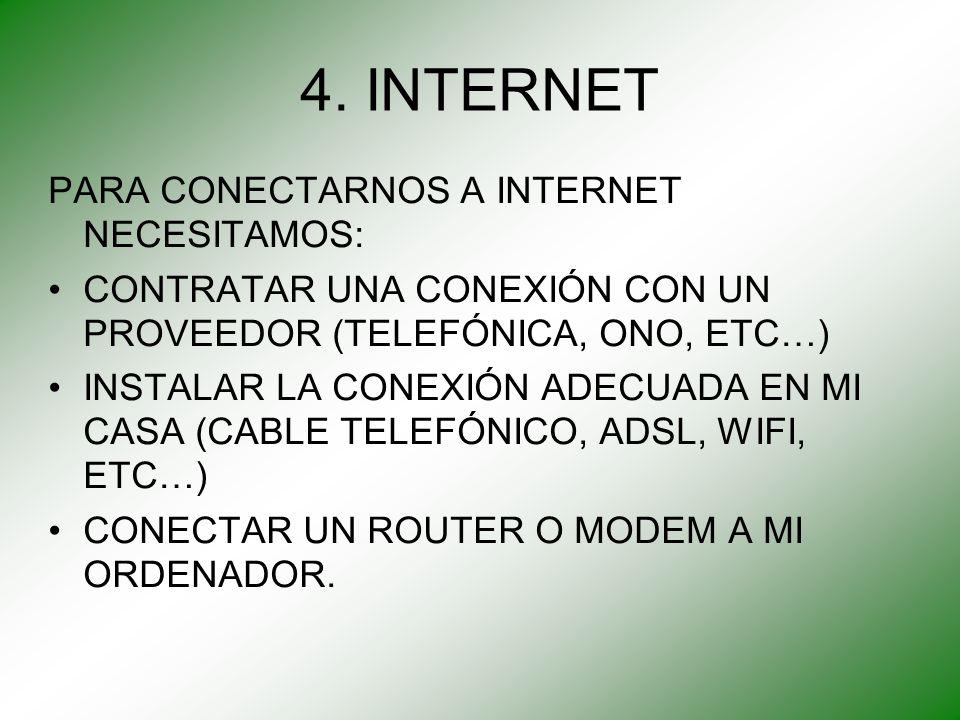 4. INTERNET PARA CONECTARNOS A INTERNET NECESITAMOS: CONTRATAR UNA CONEXIÓN CON UN PROVEEDOR (TELEFÓNICA, ONO, ETC…) INSTALAR LA CONEXIÓN ADECUADA EN