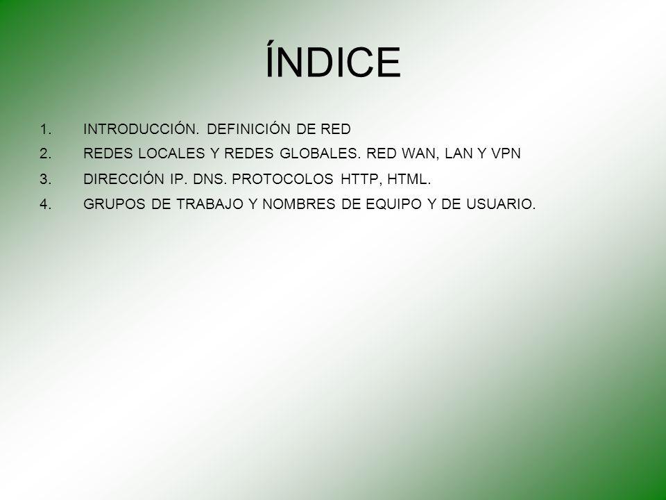 ÍNDICE 1.INTRODUCCIÓN. DEFINICIÓN DE RED 2.REDES LOCALES Y REDES GLOBALES. RED WAN, LAN Y VPN 3.DIRECCIÓN IP. DNS. PROTOCOLOS HTTP, HTML. 4.GRUPOS DE