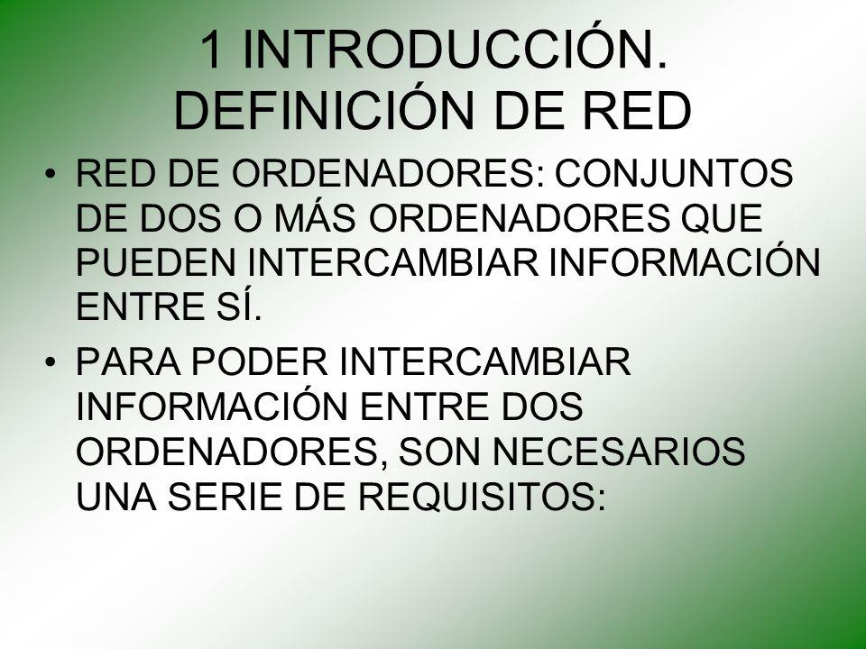 1 INTRODUCCIÓN. DEFINICIÓN DE RED RED DE ORDENADORES: CONJUNTOS DE DOS O MÁS ORDENADORES QUE PUEDEN INTERCAMBIAR INFORMACIÓN ENTRE SÍ. PARA PODER INTE
