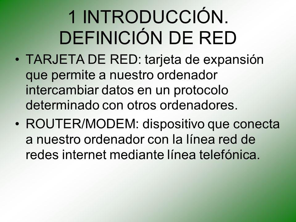 1 INTRODUCCIÓN. DEFINICIÓN DE RED TARJETA DE RED: tarjeta de expansión que permite a nuestro ordenador intercambiar datos en un protocolo determinado