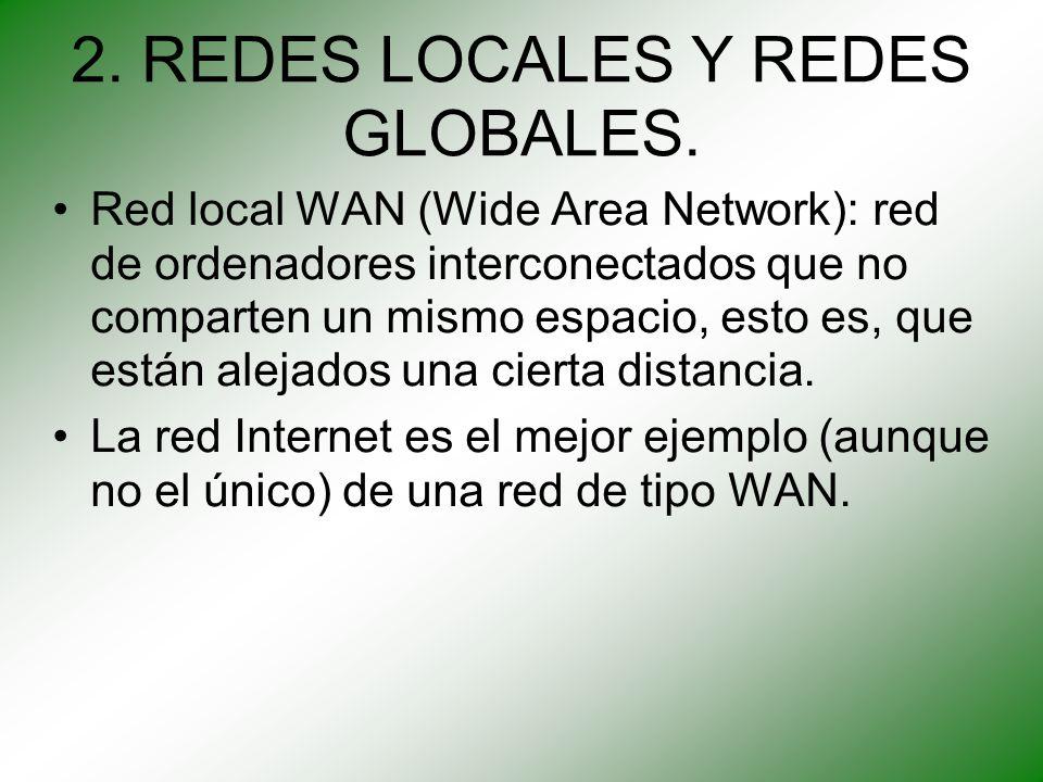 2. REDES LOCALES Y REDES GLOBALES. Red local WAN (Wide Area Network): red de ordenadores interconectados que no comparten un mismo espacio, esto es, q