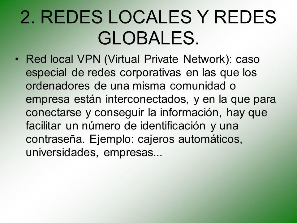 2. REDES LOCALES Y REDES GLOBALES. Red local VPN (Virtual Private Network): caso especial de redes corporativas en las que los ordenadores de una mism