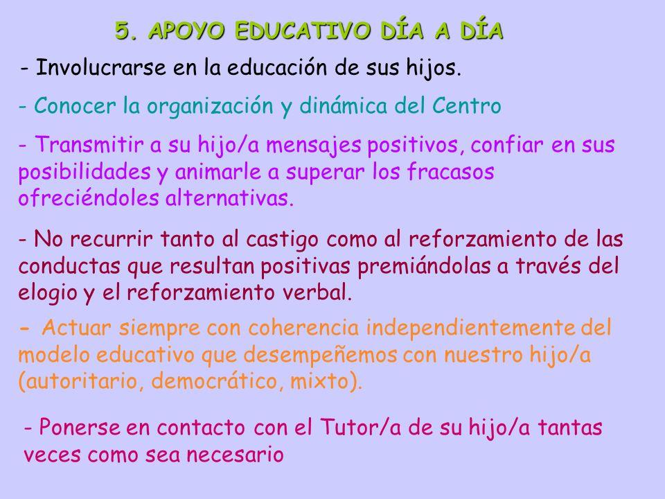 5. APOYO EDUCATIVO DÍA A DÍA - Involucrarse en la educación de sus hijos. - Conocer la organización y dinámica del Centro - Transmitir a su hijo/a men