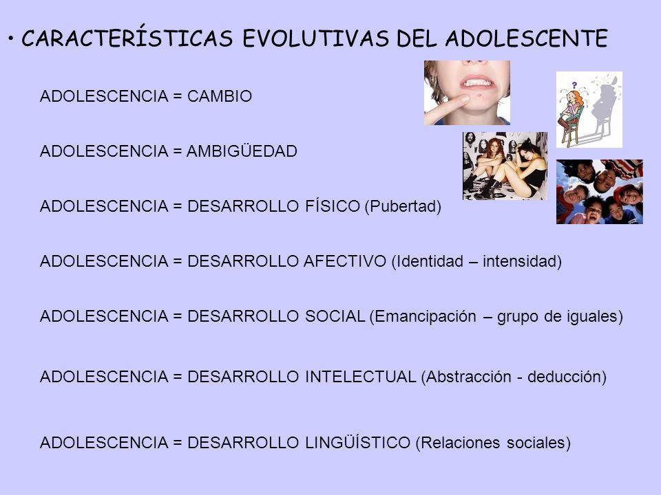 CARACTERÍSTICAS EVOLUTIVAS DEL ADOLESCENTE ADOLESCENCIA = CAMBIO ADOLESCENCIA = AMBIGÜEDAD ADOLESCENCIA = DESARROLLO FÍSICO (Pubertad) ADOLESCENCIA =