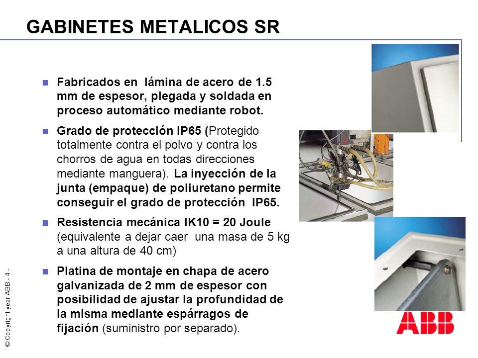 © Copyright year ABB - 5 - GABINETES METALICOS SR Reversibilidad completa del gabinete que permite fijar la apertura de la puerta a la derecha o a la izquierda a un ángulo de 120° Maneta con cerradura metálica de doble aleta.