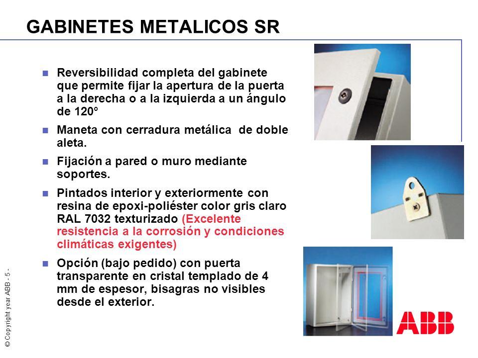 © Copyright year ABB - 5 - GABINETES METALICOS SR Reversibilidad completa del gabinete que permite fijar la apertura de la puerta a la derecha o a la