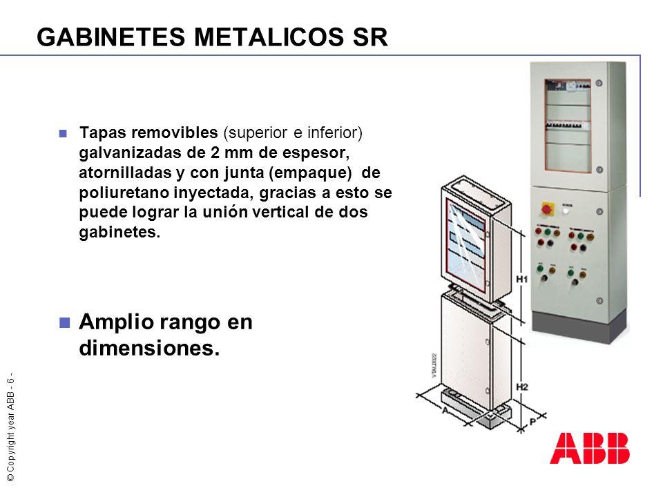 © Copyright year ABB - 6 - GABINETES METALICOS SR Tapas removibles (superior e inferior) galvanizadas de 2 mm de espesor, atornilladas y con junta (em