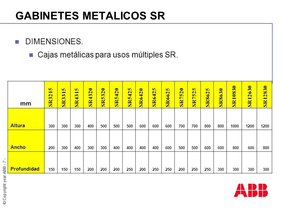 © Copyright year ABB - 7 - GABINETES METALICOS SR DIMENSIONES. Cajas metálicas para usos múltiples SR. mm Altura 300 400500 600 700 800 10001200 Ancho