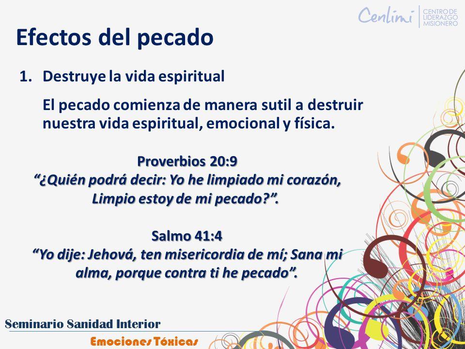 Efectos del pecado 1.Destruye la vida espiritual El pecado comienza de manera sutil a destruir nuestra vida espiritual, emocional y física. Proverbios