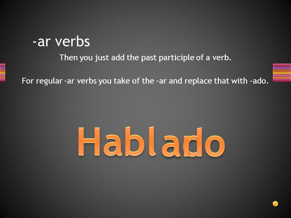 -ar verbs Then you just add the past participle of a verb.