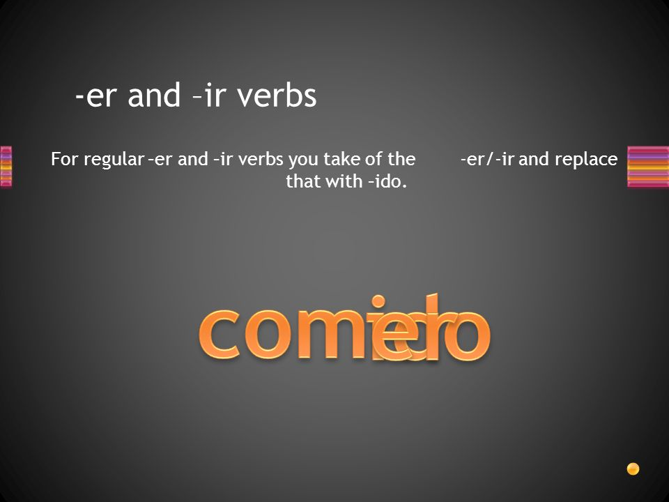 -er and –ir verbs For regular –er and –ir verbs you take of the -er/-ir and replace that with –ido.