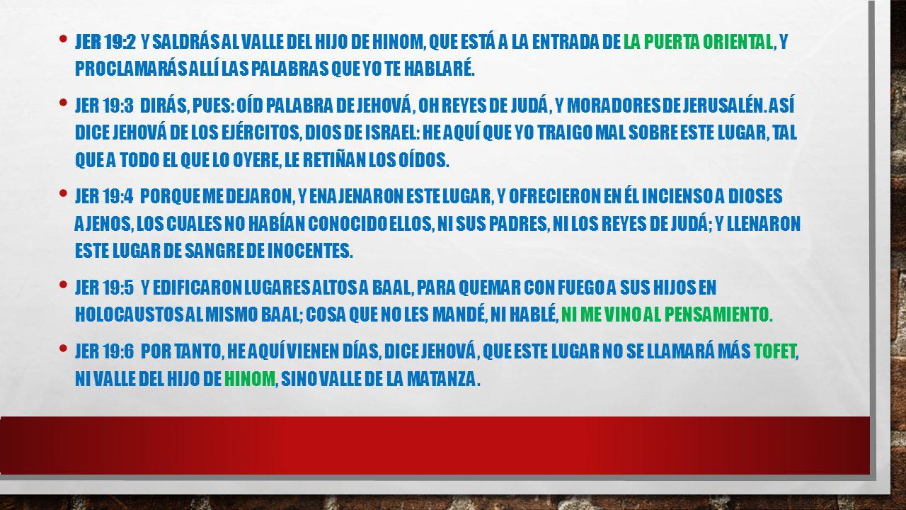 SIGNIFICADO TOFET: SIGNIFICA- ALTAR EN HEBREO TOFET=ERA UN REY ASIREO CONSONANTES T-F-TH SON LOS VOCALS DE BOSHETH=VERGUENZA ESCUPIDA LUGAR ABORRECIBLE EN EL ARAMEO: LUGAR DONDE ARDE