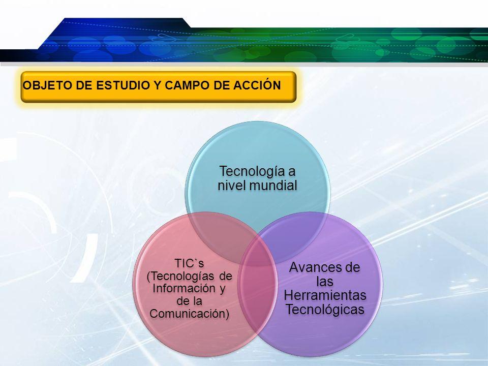 OBJETO DE ESTUDIO Y CAMPO DE ACCIÓN Tecnología a nivel mundial Avances de las Herramientas Tecnológicas TIC`s (Tecnologías de Información y de la Comu
