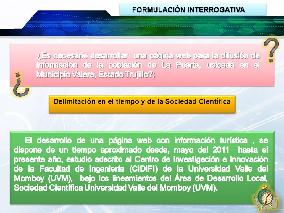FORMULACIÓN INTERROGATIVA FORMULACIÓN INTERROGATIVA Delimitación en el tiempo y de la Sociedad Científica