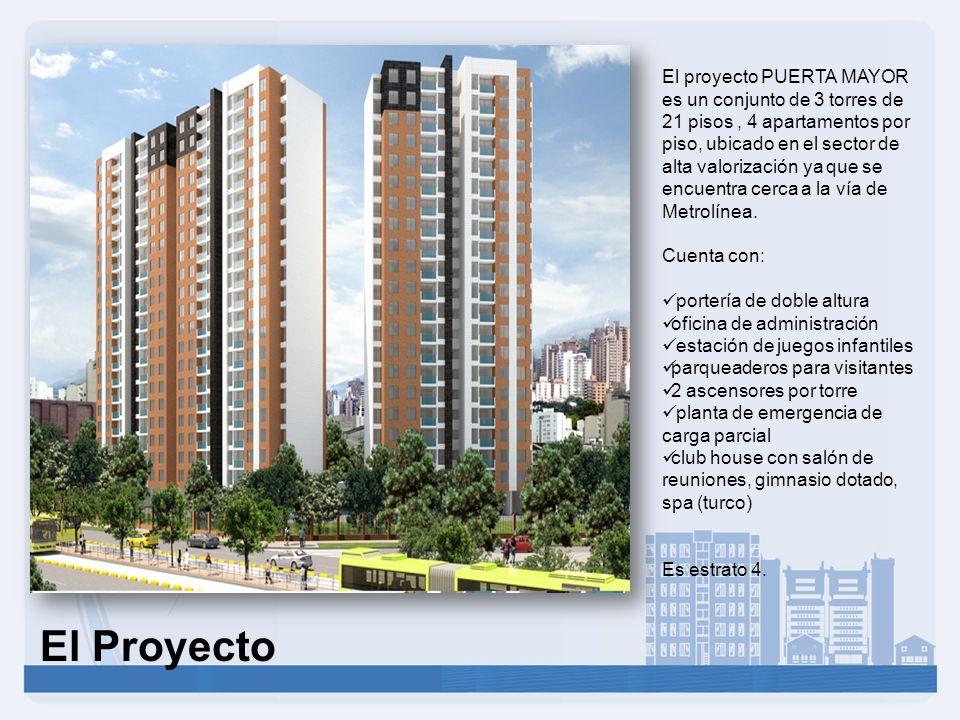 El proyecto PUERTA MAYOR es un conjunto de 3 torres de 21 pisos, 4 apartamentos por piso, ubicado en el sector de alta valorización ya que se encuentra cerca a la vía de Metrolínea.