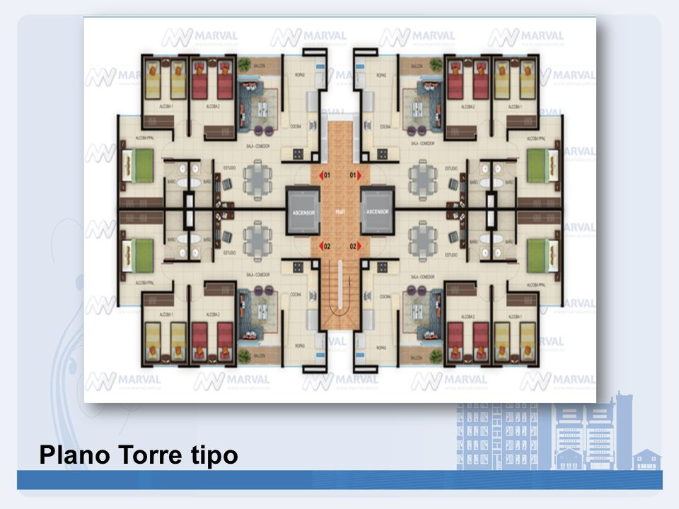 Plano Torre tipo