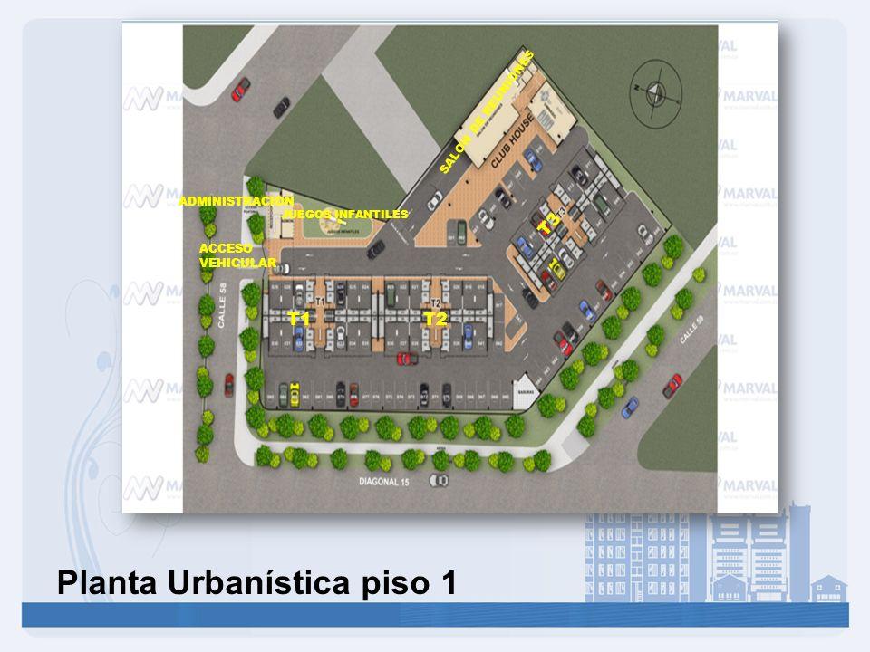 Planta Urbanística piso 1 T1T2 T3 JUEGOS INFANTILES ACCESO VEHICULAR SALON DE REUNIONES ADMINISTRACION