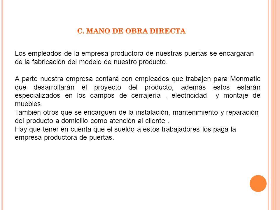 Los empleados de la empresa productora de nuestras puertas se encargaran de la fabricación del modelo de nuestro producto. A parte nuestra empresa con