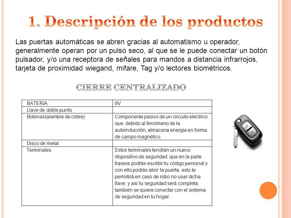-MonMatic Puertas y Automatismos 1º) Se estableció una lista de las empresas que fabrican nuestro producto, esto se hace mediante una ficha de proveedores.
