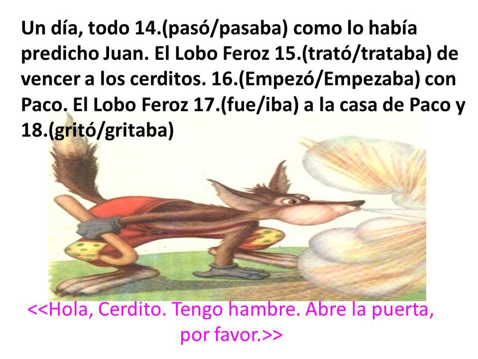 > Un día, todo 14.(pasó/pasaba) como lo había predicho Juan. El Lobo Feroz 15.(trató/trataba) de vencer a los cerditos. 16.(Empezó/Empezaba) con Paco.