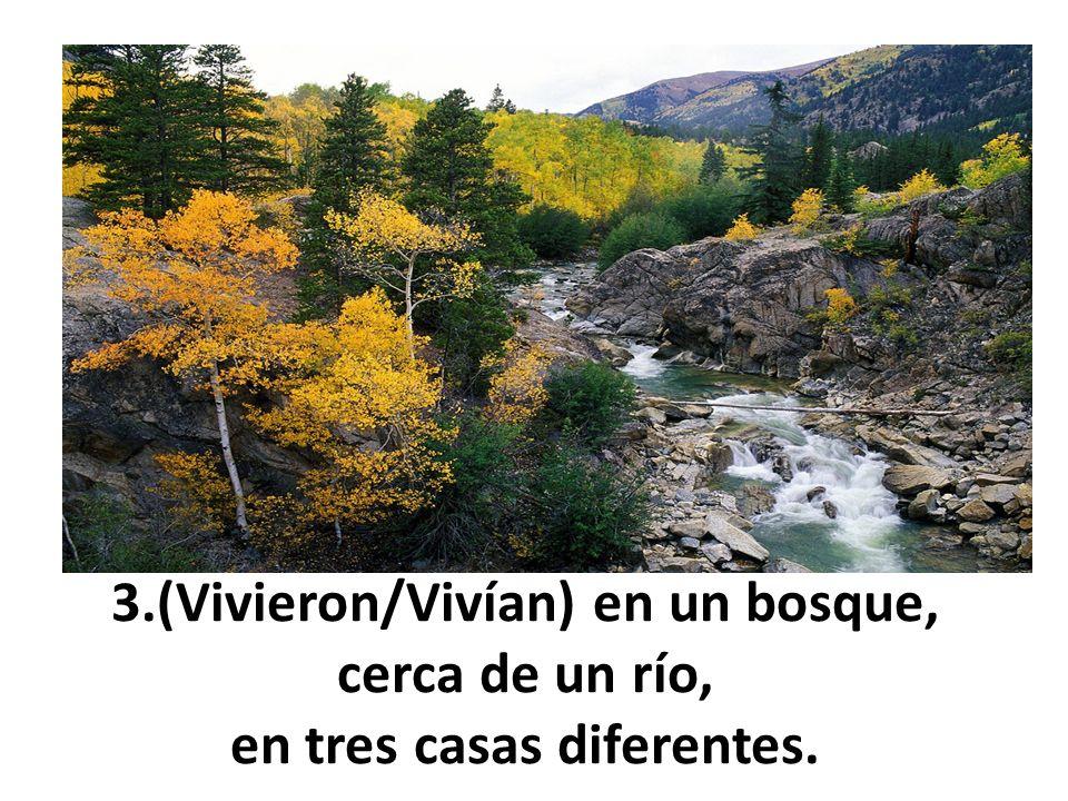 3.(Vivieron/Vivían) en un bosque, cerca de un río, en tres casas diferentes.
