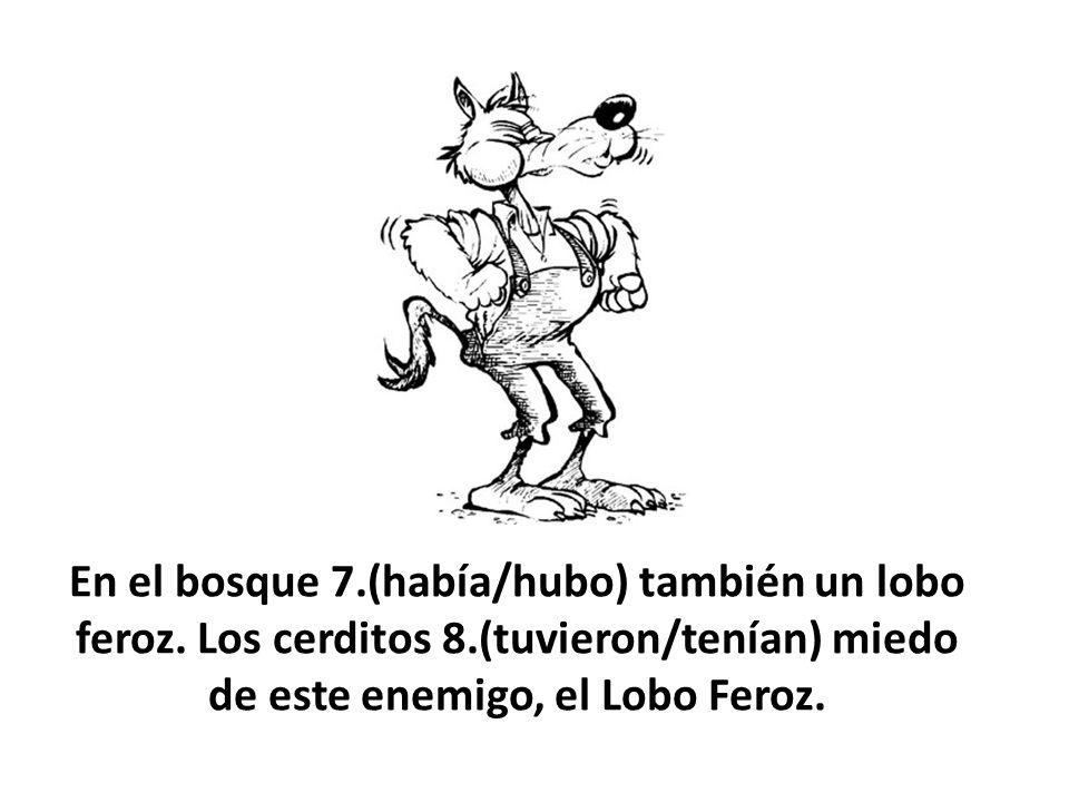 En el bosque 7.(había/hubo) también un lobo feroz. Los cerditos 8.(tuvieron/tenían) miedo de este enemigo, el Lobo Feroz.