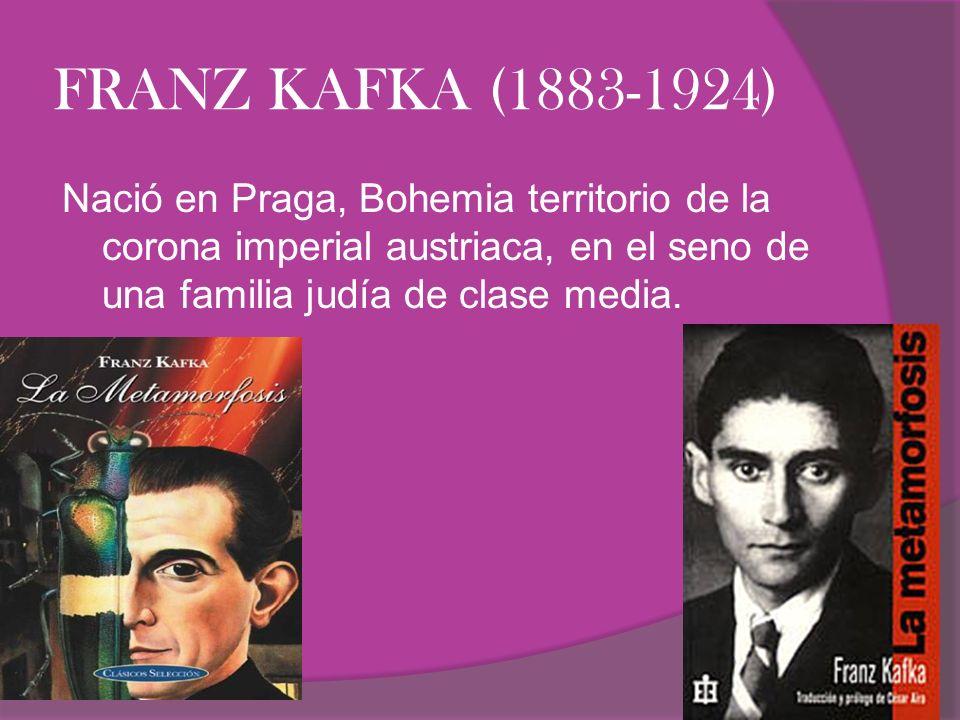 FRANZ KAFKA (1883-1924) Nació en Praga, Bohemia territorio de la corona imperial austriaca, en el seno de una familia judía de clase media.