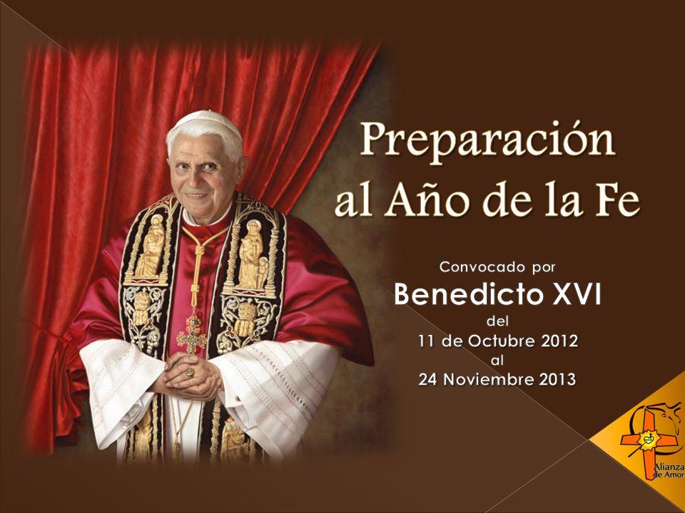 En la proximidad de los 50 años de haberse inaugurado en la Iglesia el Concilio Vaticano II, el Papa Benedicto XVI ha convocado un año de la fe, que comenzará en octubre de 2012 y concluirá en noviembre de 2013.