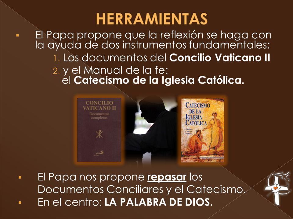 El Papa nos propone repasar los Documentos Conciliares y el Catecismo. En el centro: LA PALABRA DE DIOS. El Papa propone que la reflexión se haga con