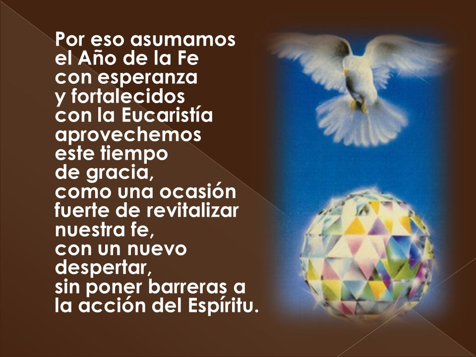 Por eso asumamos el Año de la Fe con esperanza y fortalecidos con la Eucaristía aprovechemos este tiempo de gracia, como una ocasión fuerte de revital
