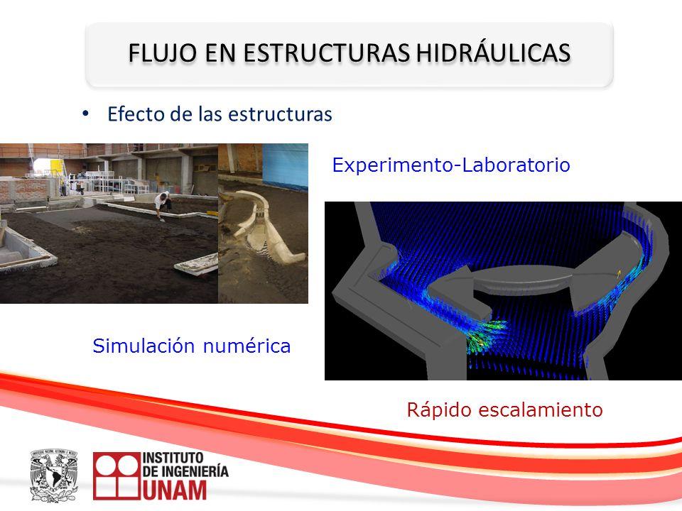 FLUJO EN ESTRUCTURAS HIDRÁULICAS Efecto de las estructuras Experimento-Laboratorio Simulación numérica Rápido escalamiento