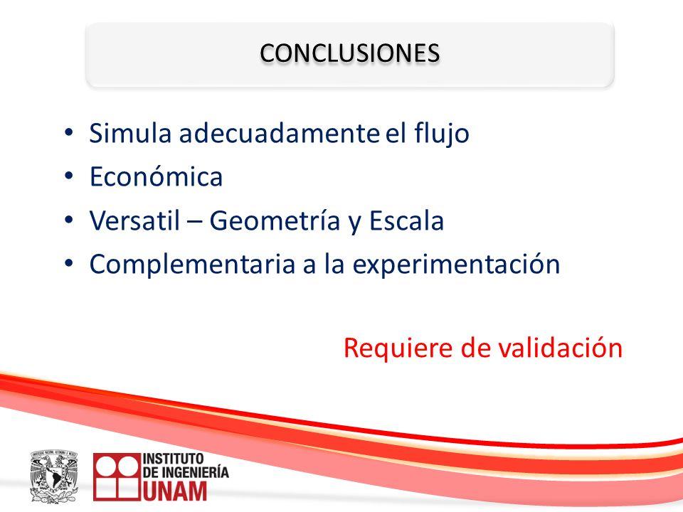 CONCLUSIONES Simula adecuadamente el flujo Económica Versatil – Geometría y Escala Complementaria a la experimentación Requiere de validación