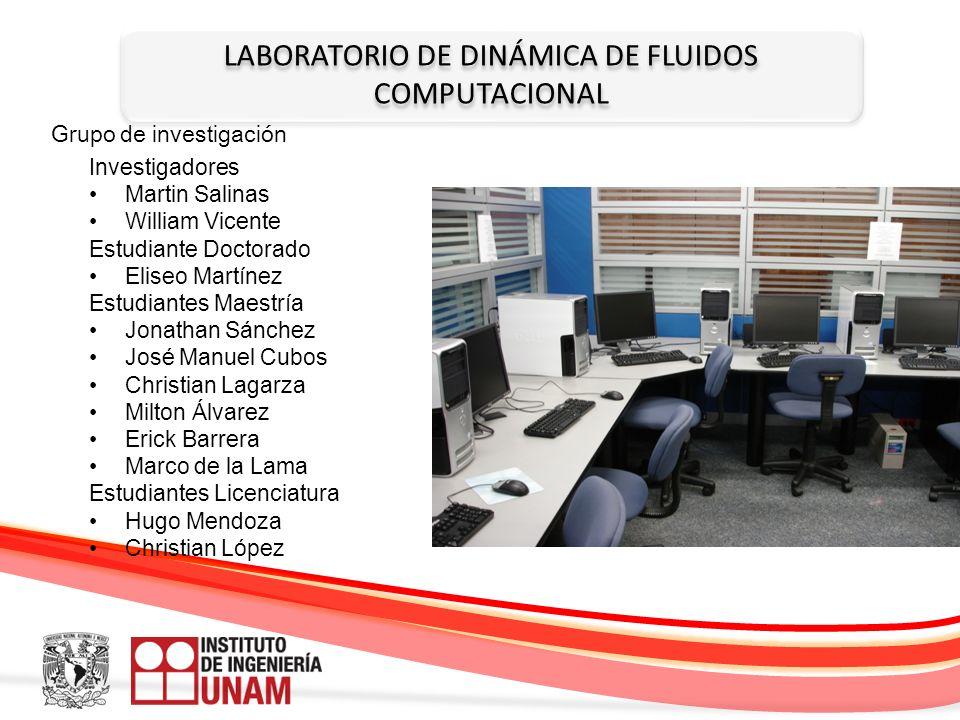 LABORATORIO DE DINÁMICA DE FLUIDOS COMPUTACIONAL Grupo de investigación Investigadores Martin Salinas William Vicente Estudiante Doctorado Eliseo Mart