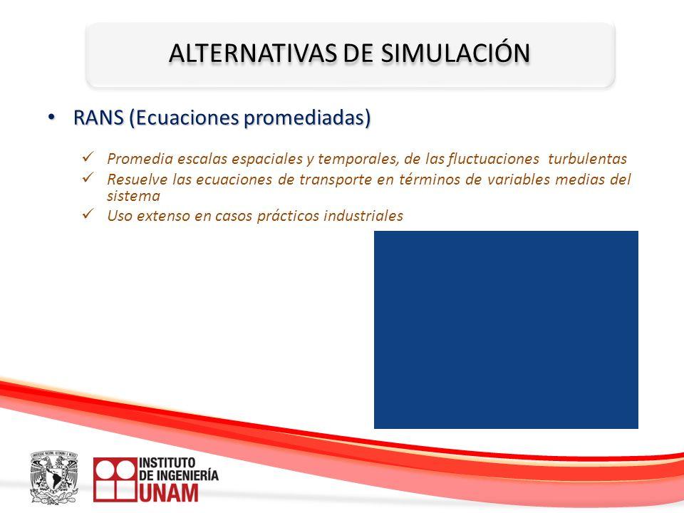 ALTERNATIVAS DE SIMULACIÓN RANS (Ecuaciones promediadas) RANS (Ecuaciones promediadas) Promedia escalas espaciales y temporales, de las fluctuaciones
