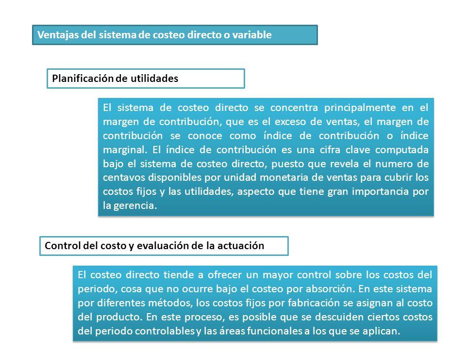 Ventajas del sistema de costeo directo o variable Planificación de utilidades El sistema de costeo directo se concentra principalmente en el margen de