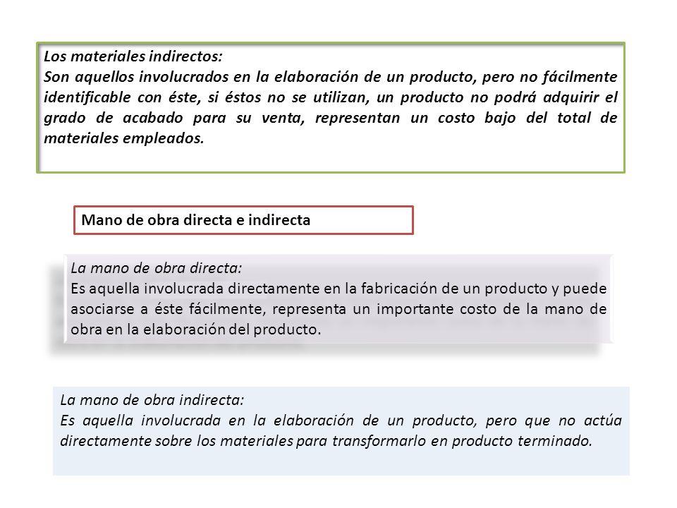 Los materiales indirectos: Son aquellos involucrados en la elaboración de un producto, pero no fácilmente identificable con éste, si éstos no se utili
